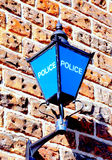 Blue lamp Police Sign. Royalty Free Stock Photo
