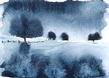 Blue Landscape. Watercolor painting, created and painted by the photographer Stock Images