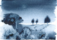 Blue Landscape. Watercolor painting, created and painted by the photographer Royalty Free Stock Images