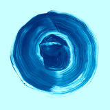 Blue lapis textured acrylic circle. Watercolour stain on blue island paradise background. Royalty Free Stock Image