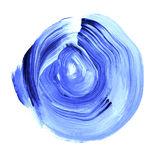 Blue lapis textured acrylic circle. Watercolour stain on white background. Royalty Free Stock Photography