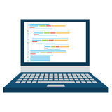 Blue laptop screen, vector graphic Stock Image