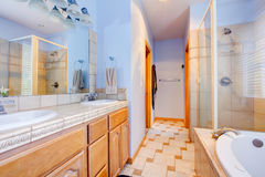 Blue large bathroom with tub and shower. Stock Photos