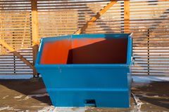 Blue large garbage container at winter day Stock Image