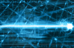 Blue laser beam background Stock Photo