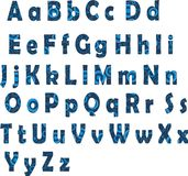 Blue Latin alphabet. The Latin alphabet with a pattern. Includes letters of upper and lower cases Royalty Free Stock Image