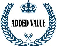 Blue laurels seal with ADDED VALUE text. Illustration concept Royalty Free Stock Image
