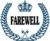 Blue laurels seal with FAREWELL text. Illustration concept Stock Image