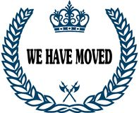 Blue laurels seal with WE HAVE MOVED text. Stock Photos