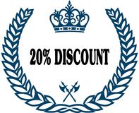Blue laurels seal with 20 PERCENT DISCOUNT text. Illustration concept royalty free illustration