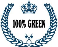 Blue laurels seal with 100 PERCENT GREEN text. Illustration concept Stock Illustration