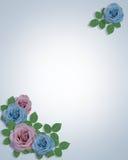 Blue and Lavender Roses Corner Design template. Image and illustration composition for card, stationery, invitation or background royalty free illustration