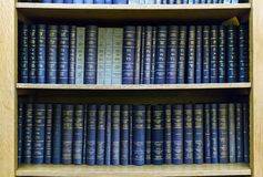 Blue Law Books in Bookshelf Royalty Free Stock Photos