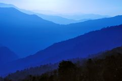 Blue Layers of Mountain Ridges Royalty Free Stock Images