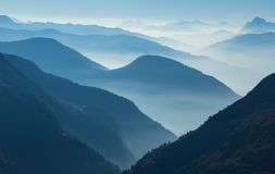 Blue layers of mountains royalty free stock photo
