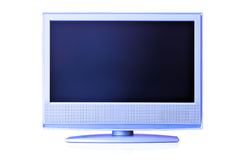 Blue LCD TV. Blue flat LCD TV isolated over whte background with space for your own text or image over screen Stock Photo