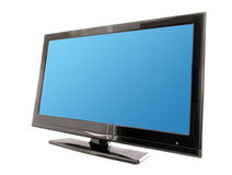 Blue lcd tv screen. Blue lcd tv monitor isolated on white background Stock Photo