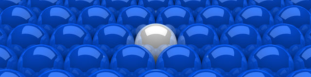 Blue leader sphere concept 2. 3D Illustration Blue and white spheres in a row Royalty Free Stock Images