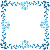 Blue Leaf Branches Frame Border. Blue olive leaf branches border frame in blue shinny color. Leafs around the edge Stock Photography