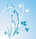 Blue leaf design. Design or illustration of teal and white leaves and stems on lighter blue background, flowing curves Stock Photography