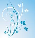 Blue leaf design. Design or illustration of teal and white leaves and stems on lighter blue background, flowing curves Stock Illustration