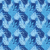 Blue Leaf Seamless texture. For summer fabric Royalty Free Stock Photography