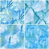 Blue Leaf Seamless Watercolor Series Royalty Free Stock Photos