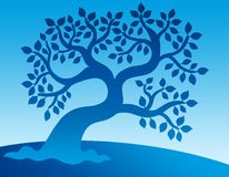 Blue leafy tree vector illustration
