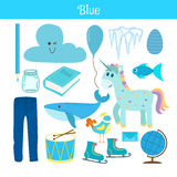 Blue. Learn the color. Education set. Illustration of primary co. Lors. Vector illustration Royalty Free Stock Photos