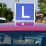 Blue Learner Driver Symbol on Car Stock Photography