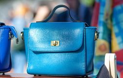 Blue Leather Bag Royalty Free Stock Image