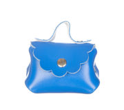 Blue leather bag isolated on white Royalty Free Stock Images