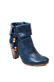 Blue leather boot for women Stock Images