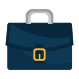 Blue leather briefcase isolated flat icon. Stock Image
