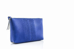 Blue leather cosmetic bag. Royalty Free Stock Photography