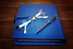 Blue leather diary Royalty Free Stock Photography