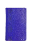 Blue leather 2017 diary note book on white Royalty Free Stock Photos