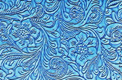 Blue Leather Embossed with a Floral Pattern Stock Images