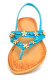 Blue leather flip flops with starfishes Stock Images