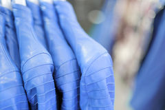 Blue leather garments Royalty Free Stock Photos