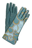 Blue leather gloves Royalty Free Stock Image