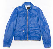 Blue leather jacket with zipper Stock Photo
