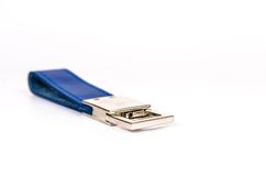 Blue leather keyring isolate on white Royalty Free Stock Photos