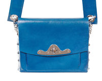 Blue leather ladies bag close up Royalty Free Stock Images