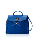 Blue leather lady handbag Stock Images