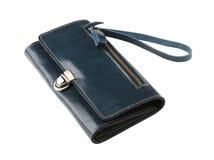 Blue leather lady handbag Royalty Free Stock Image