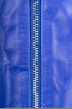 Blue leather and locking zipper Stock Photo