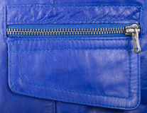 Blue leather and locking zipper Stock Photography