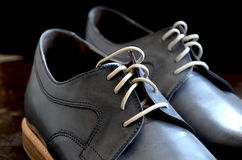Blue Leather Man Shoes. Classic design royalty free stock photo