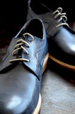 Blue Leather Man Shoes. Classic design royalty free stock images